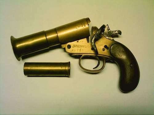 "Flare pistol, relic of ""Operation Dynamo"" 1940."