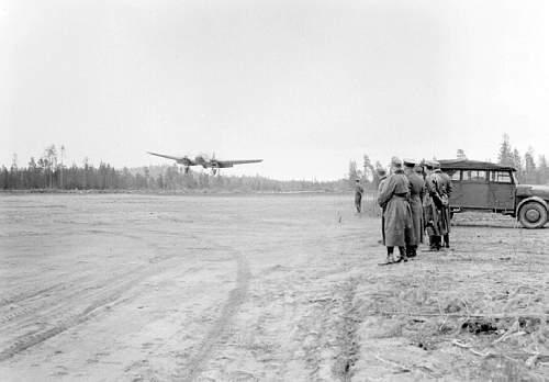 Airfield near Kananainen.Dietl plane in air. 1941.jpg