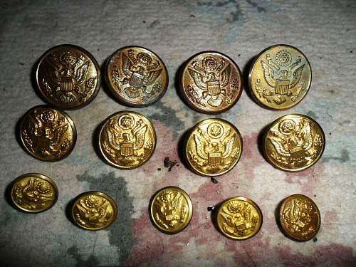 Click image for larger version.  Name:U.S. United States Military Eagle Brass Uniform Buttons J.E. Mergott Co. Newark VI.JPG Views:1 Size:158.2 KB ID:677729