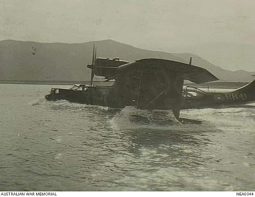 Click image for larger version.  Name:Cairns Qld 1944 01 12 RAAF Consolidated PBY Catalina flying boat, coded RB U  Black Cat  taxies .jpg Views:1 Size:170.1 KB ID:710080