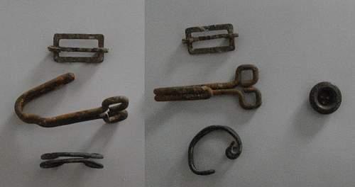 Please help ID WW2 buckle and hooks (mediterranean  German sea bunker)
