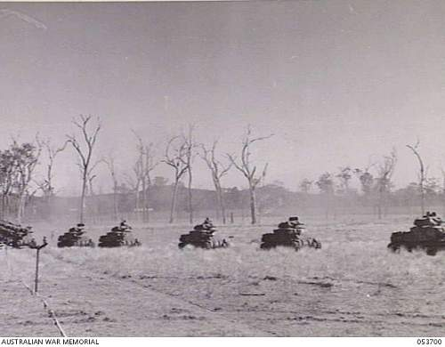 Click image for larger version.  Name:ATHERTON TABLELAND, QLD. 1943 07 02. TANKS MOVING IN TO SUPPORT THE 2 13TH AUSTRALIAN INFANTRY B.jpg Views:2 Size:174.6 KB ID:776671