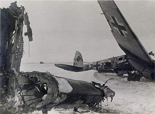Click image for larger version.  Name:He111 7.KG4 7117 - hit a bomb crater landing at Gumrak 0n 17th Jan. crew of Ltn. Spannbauer safe.jpg Views:9 Size:208.0 KB ID:835236