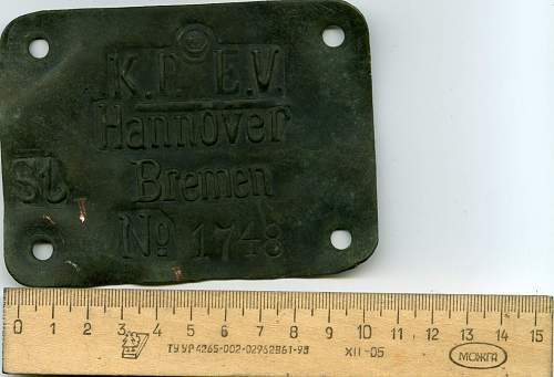 WW1 German Data Plate: from what item?
