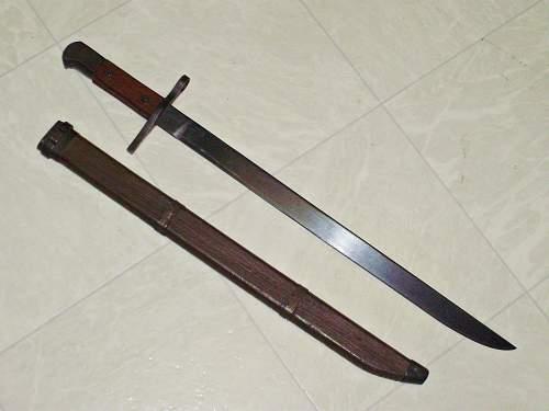 Japanese Nagoya Toyoda Bayonet w/ wooden sheath.  Flea Market find.