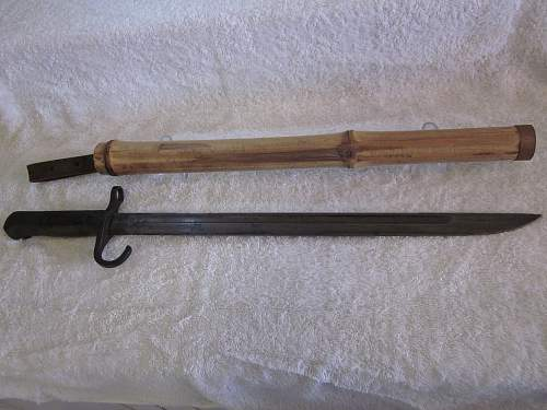 Type30 Japanese bayonet with theatre made bamboo scabbard