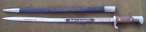 Model 1898 n.A. Bayonet 1st. Sea Batallion
