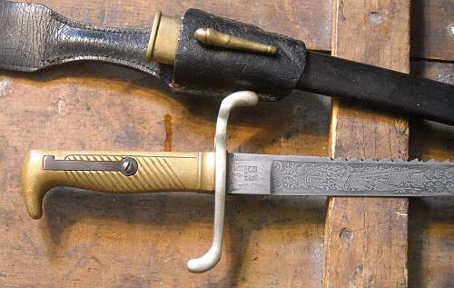 "Prussian infantry officers' 1871 sawback ""walking out"" bayonet"