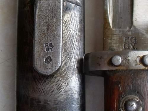 Three 1895 bayonets