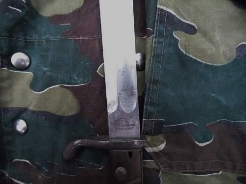 Marks on a Fichtel & Sachs Schweinfurt butcher bayonet.