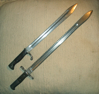 Are they German or Swiss Bayonets and best way to restore?