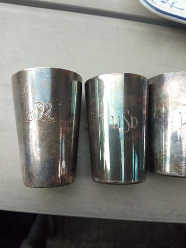 Grandpa's Early Bundeswehr silverware Liquor Cups with engravings