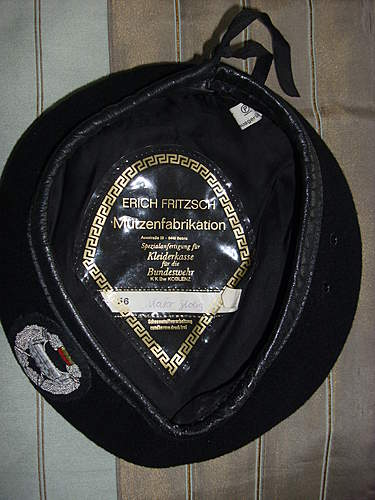 Named Panzerjager Officers embroidered beret....