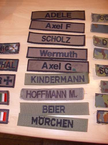 BW Namenschilds.........name tapes.