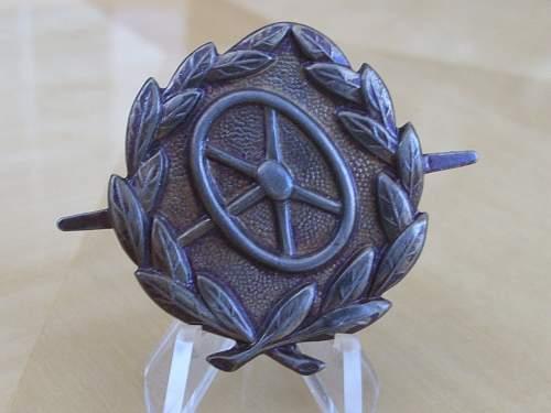 Post war drivers proficiency badge.......