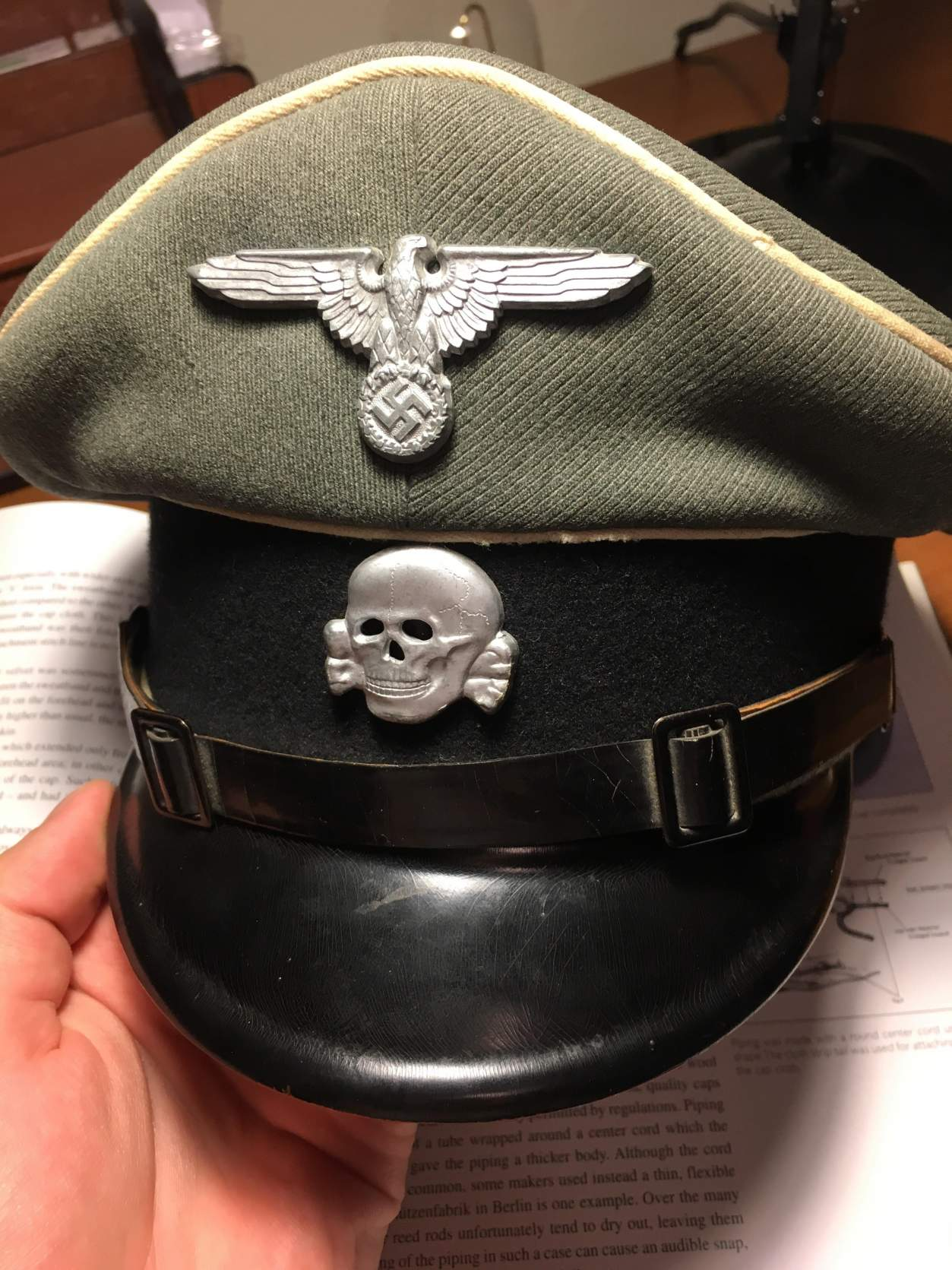 0774a894979 Possible Waffen-SS NCO Visor Cap