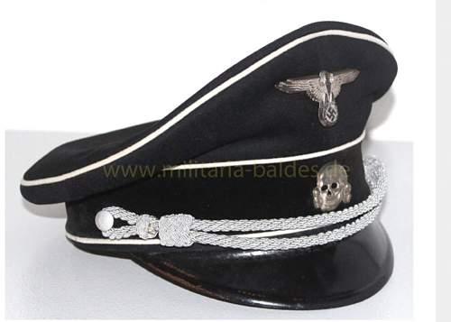 Black SS Officer's cap, no tag, no logo