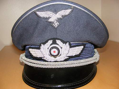 Luftwaffe visor cap, probably a fake but just want a second opinion =D