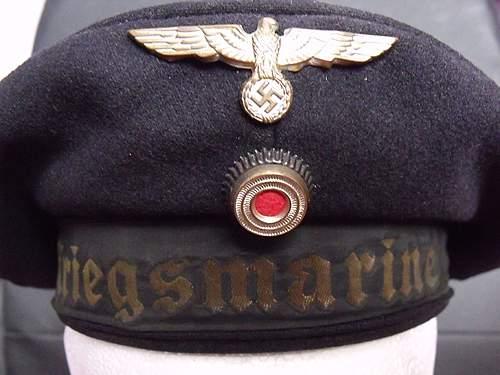 WW2 German Kriegsmarine 'Donald duck' Cap/Hat Weathered Tally etc