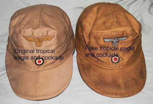Kriegsmarine M40 tropical cap & Heer tropical EM/NCO cap