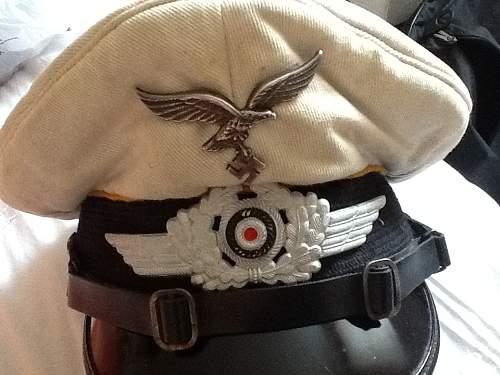 EM/NCO Luftwaffe white visor cap by Erel