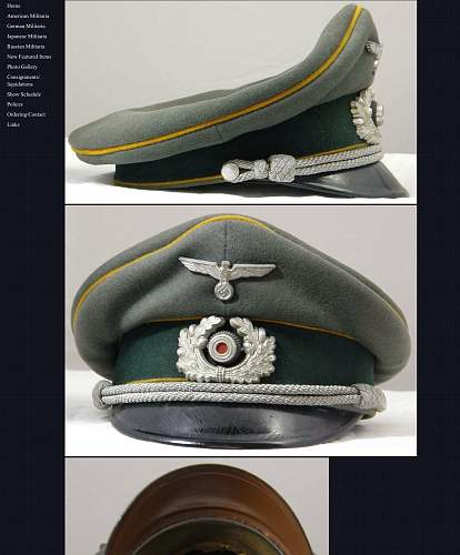 Army Calvary Officer Visor Hat authentication