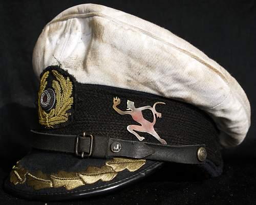 German WWII WW2 White Kriegsmarine Captains Cap