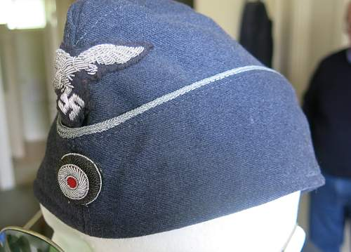 Luftwaffe Officer side cap (overseas cap) with bullion insignia.