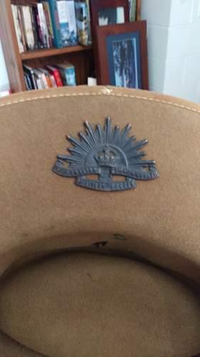 Australian Slouch Hat Green Eyelets WW2 or later????