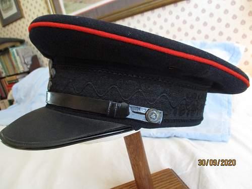 Two British officer visor caps