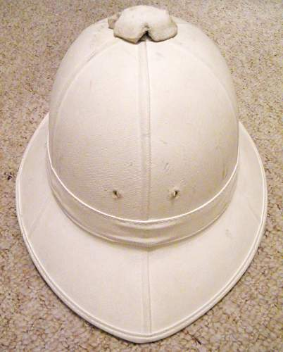 White painted commonwealth wolseley pattern pith helmet.