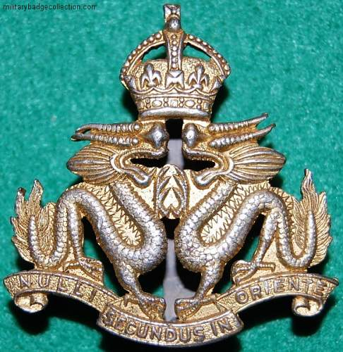 Click image for larger version.  Name:Royal Hong Kong Regiment cap badge KC.JPG Views:352 Size:117.8 KB ID:435533