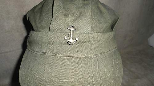 Herringbone Utility Cap with sterling anchor pin question