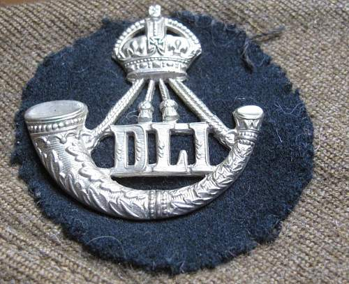 Durham Light Infantry FS cap and patches lot