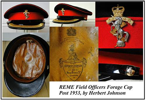 Click image for larger version.  Name:REME field officer forage cap post 1953 vm.jpg Views:479 Size:244.4 KB ID:752430