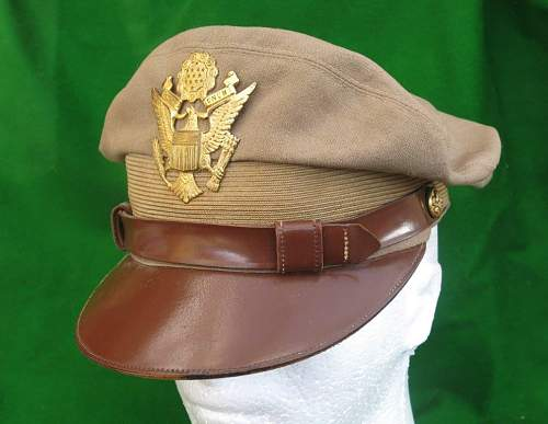 USAAF summer tan version officer's 'crusher' WW2 visor cap