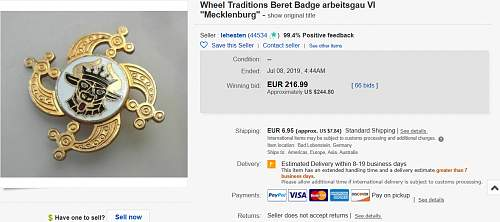 """Original Arbeitsgau VI """" Mecklenburg """" mutzenabzeichen for sale at ebay?"""