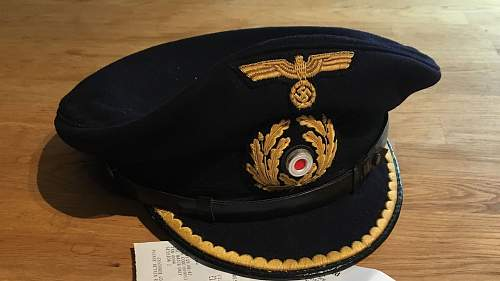 MY kriegsmarine U boot officer visor