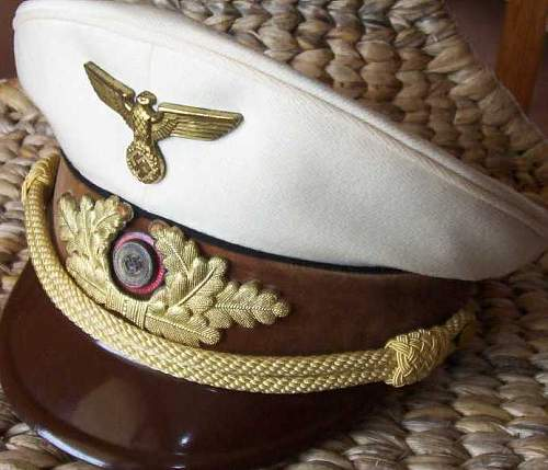 White Reichsleitung Leader's Visor Cap