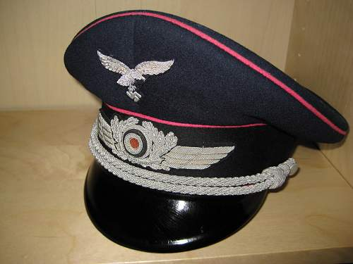 A True Color-Piped Luftwaffe Erel Officer's Visor