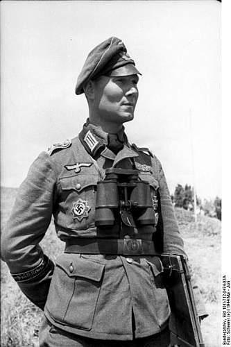 Waffen SS schutzemutze insignia used on a Alter Art Feldmutze
