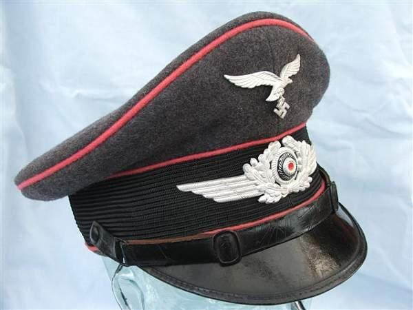 Click image for larger version.  Name:Pink piped Luftwaffe visor cap 011.jpg Views:130 Size:56.5 KB ID:20760