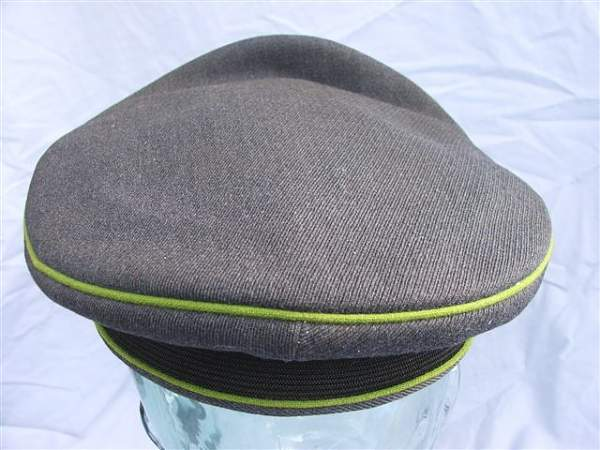 Click image for larger version.  Name:Green piped LW visor cap 021.jpg Views:102 Size:66.4 KB ID:20943