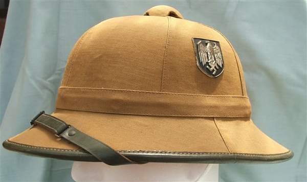 Click image for larger version.  Name:Heer DAK 1st pattern pith helmet 001.jpg Views:43 Size:36.2 KB ID:23532