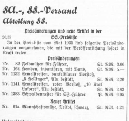 Allgemeine-SS Sonderanfertigung Visor