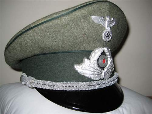 Wehrmacht field officers visor hat id...