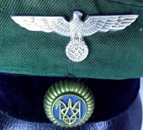 Ukrainian volunteer visor cap & POA insignias