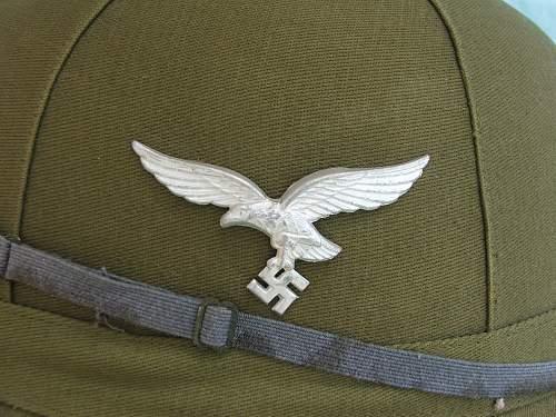 Luftwaffe green RB numbered sun helmet