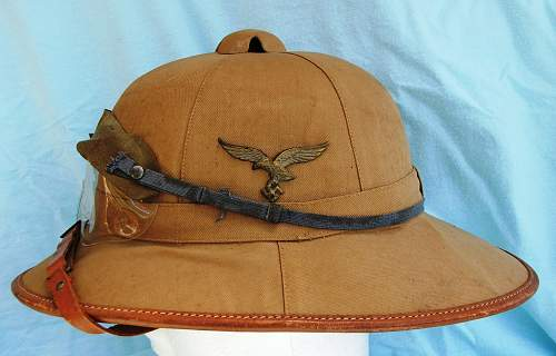 Luftwaffe tan sun helmet by C. Pose of Berlin.