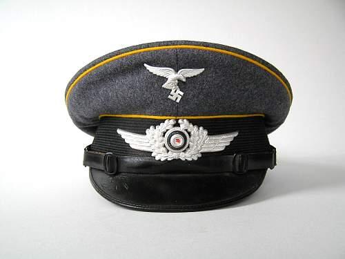 Early Luftwaffe flight/para enlisted visor cap